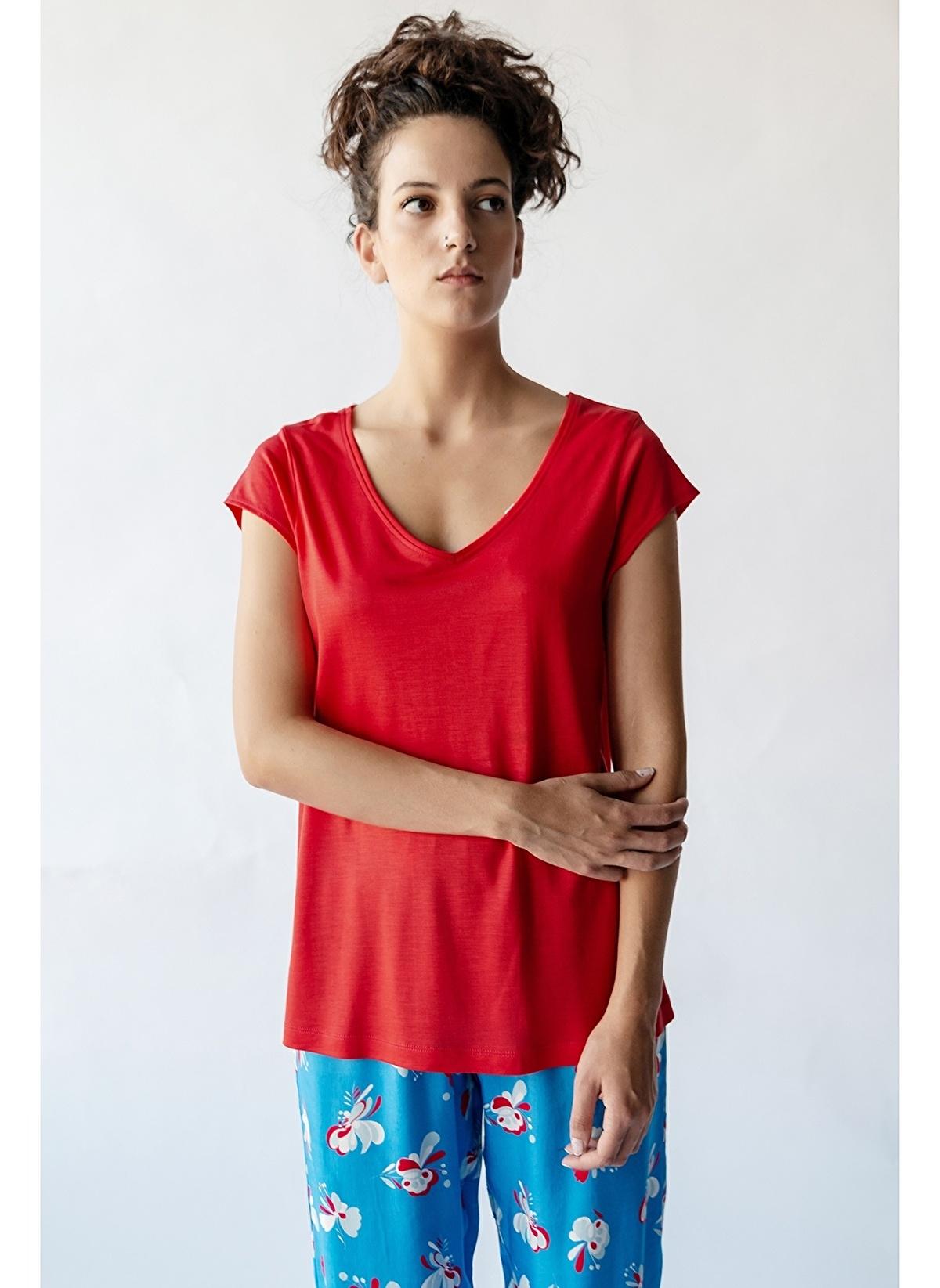 Hays Pijama Üst 29639-b132 Kadın V Yaka Tencel Üst – 89.99 TL